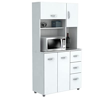 Inval America Gcm 042 4 Door Microwave Storage Cabinet Laricina White