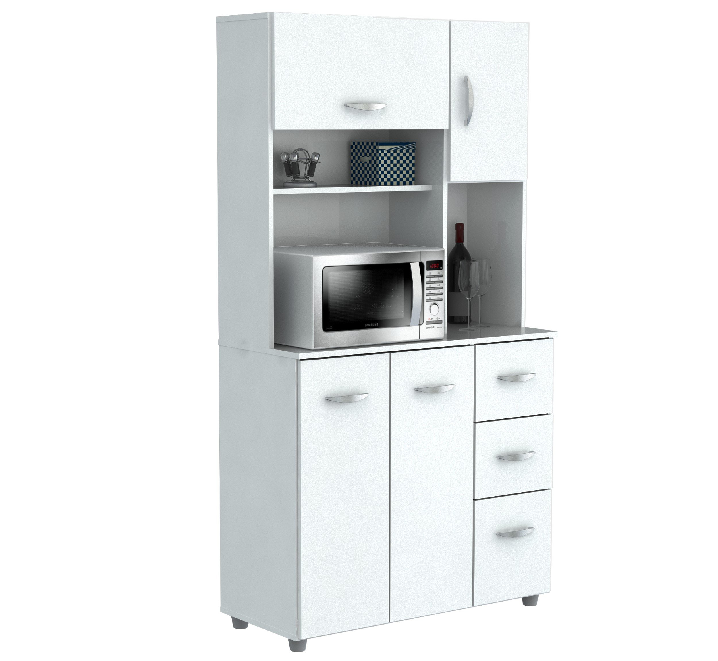 Inval America 4 Door Storage Cabinet with Microwave Cart, Laricina White by Inval America (Image #1)