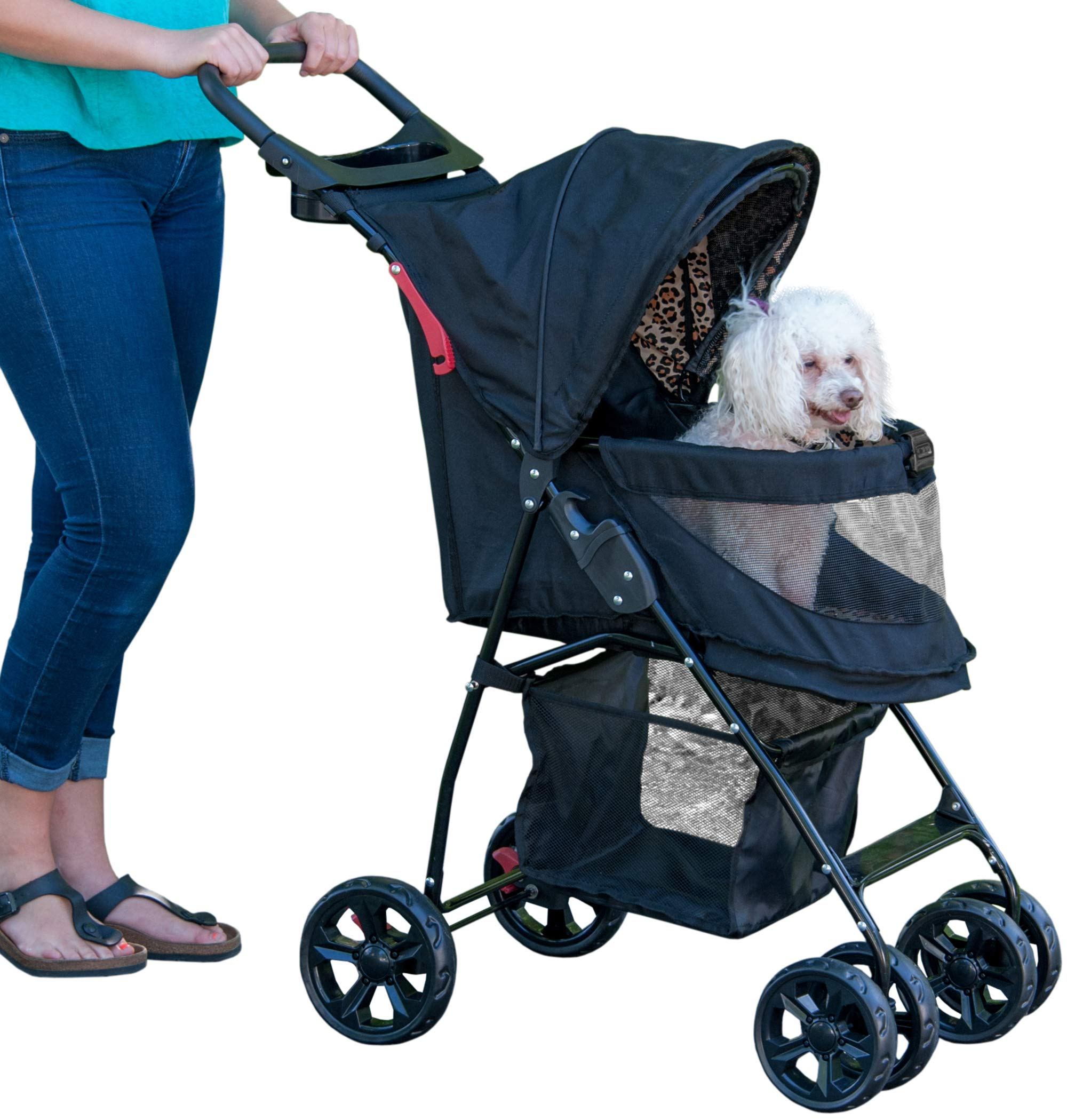 Pet Gear No-Zip Happy Trails Lite Pet Stroller, Zipperless Entry, Jaguar by Pet Gear