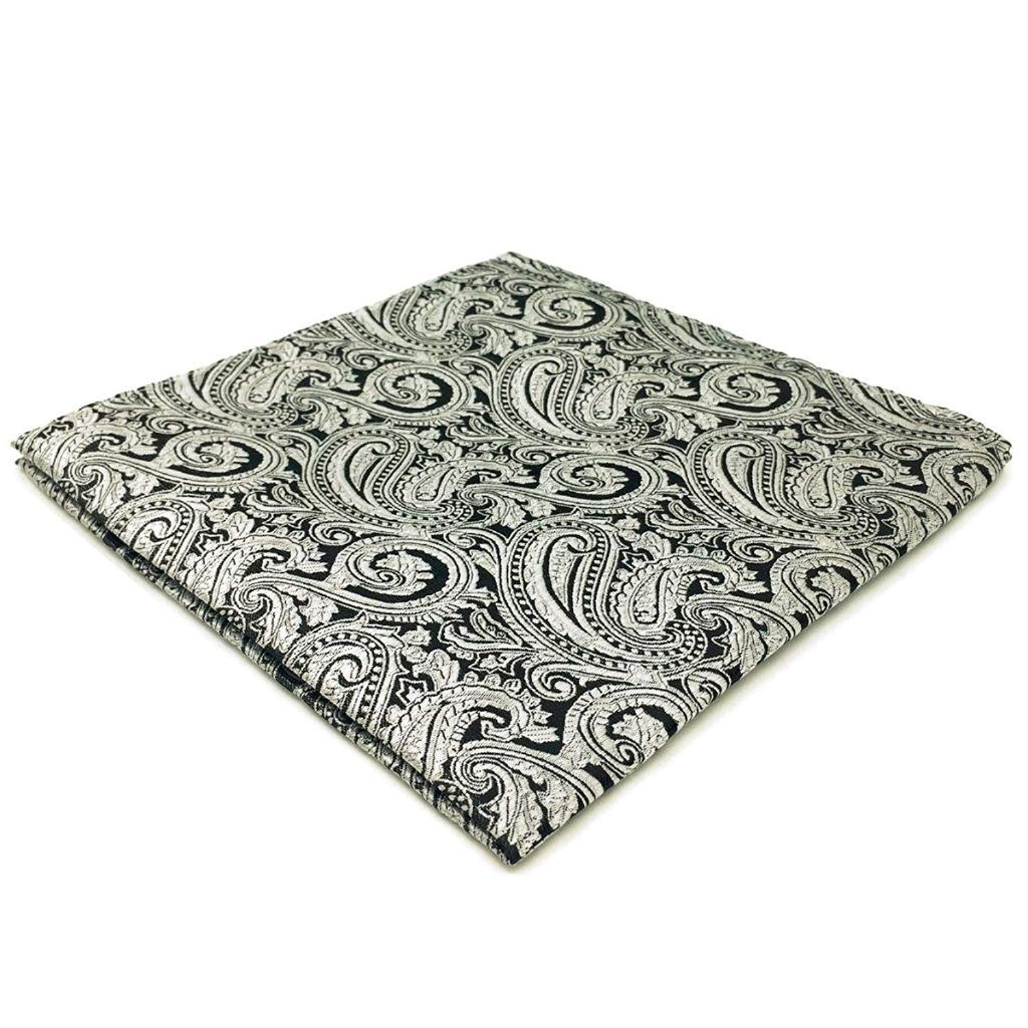 SHLAX/&WING Luxury Mens Neckties Silver Black Paisley for Suits Wedding Party Matching Pocket Square