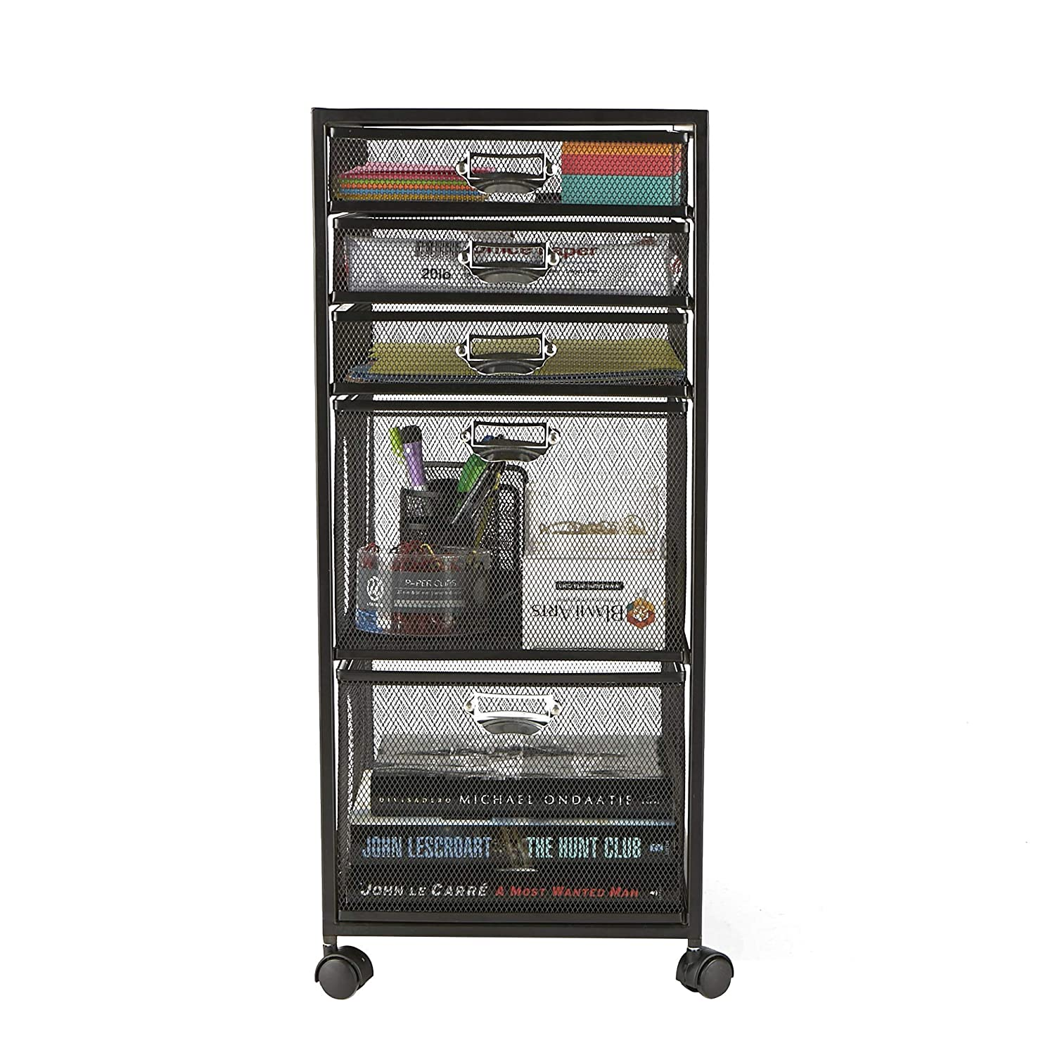 Mind Reader 5TWHEEL-BLK 5-Tiered Cabinet, Rolling Mesh, Metal, Drawers, File, Utility, Office Storage, Heavy Duty Multi-Purpose Cart, Black