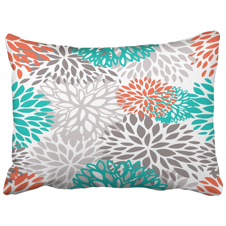emvency decorativo fundas de almohada naranja gris blanco y turquesa ...
