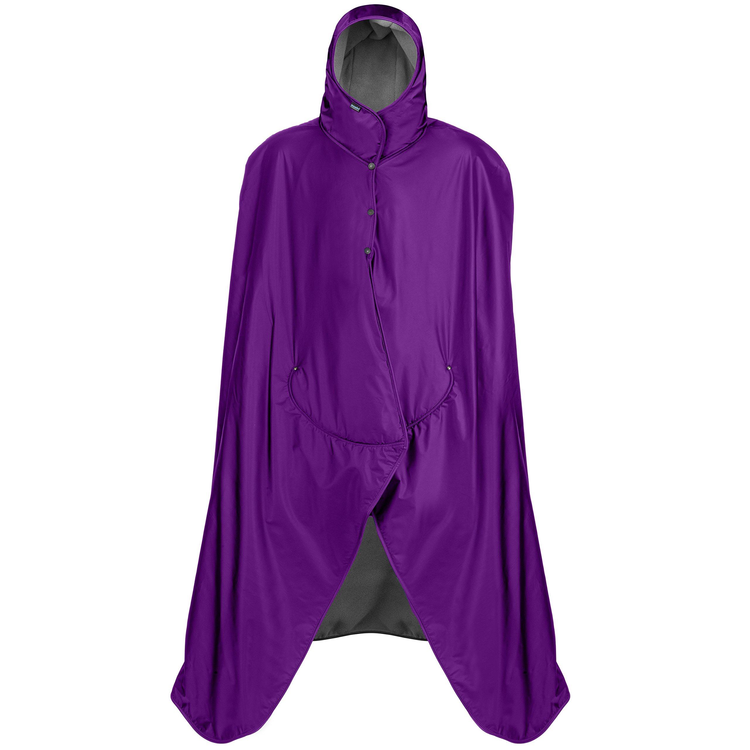 Mambe Extreme Weather 100% Waterproof/Windproof Hooded Blanket with Premium Stuff Sack (Size: Regular, Purple-Charcoal)