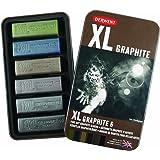 Derwent XL Graphite Blocks Tin - Multi-Coloured, Set of 6