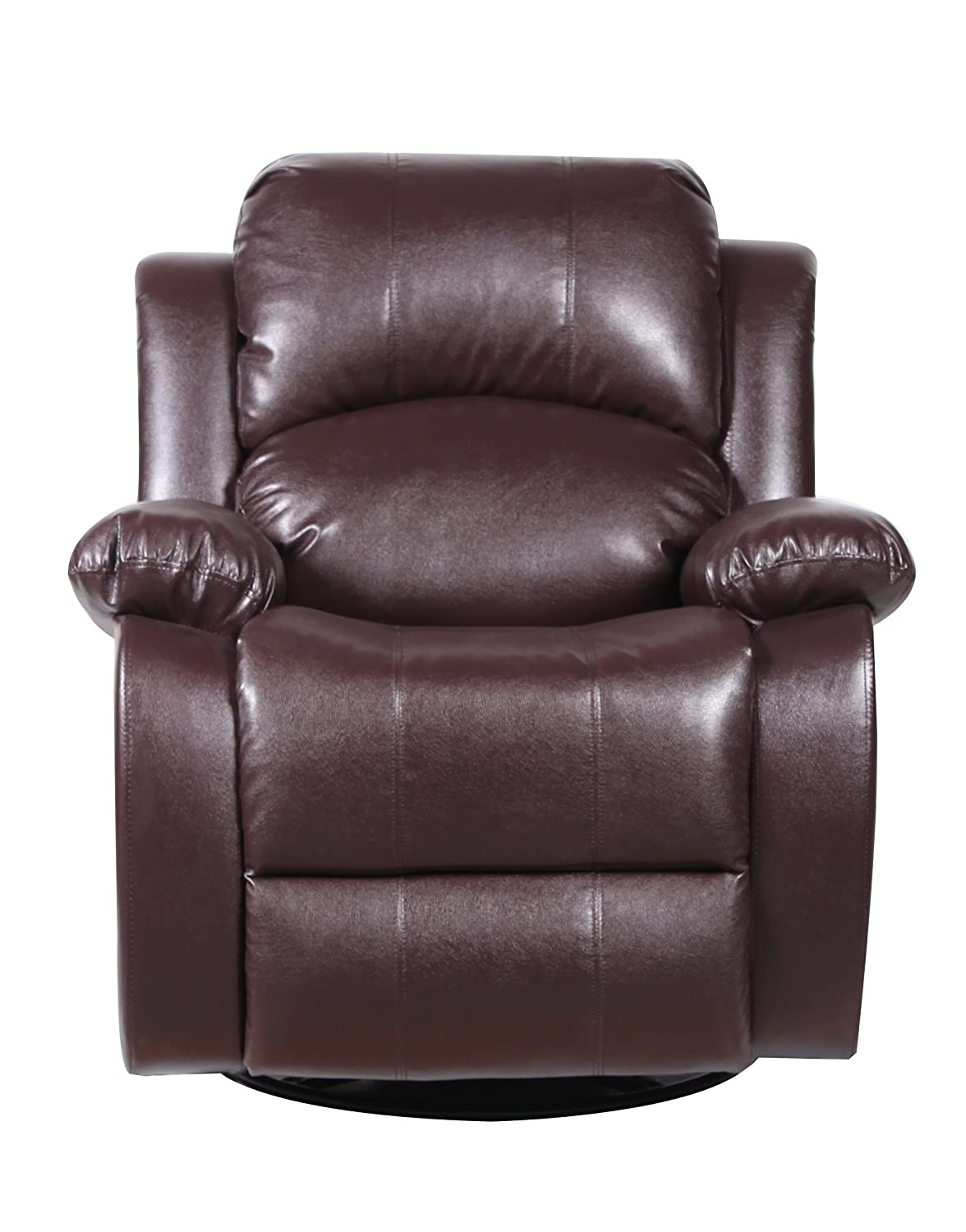 Amazon.com: Bonded Leather Rocker And Swivel Recliner Living Room Chair  (Brown): Kitchen U0026 Dining