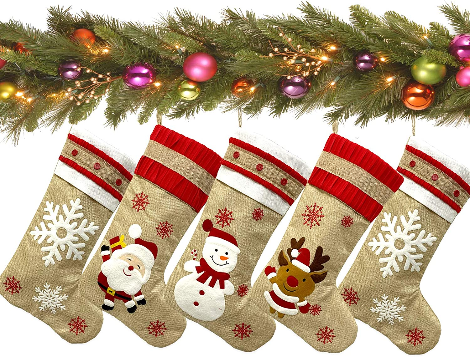 """LucaSng 2020 New Christmas Stockings 5 Pack for Family 19"""" Large Burlap Cartoon Xmas Stocking for Home Décor Rustic Farmhouse Stockings Set of 5 for Christmas Decorations"""
