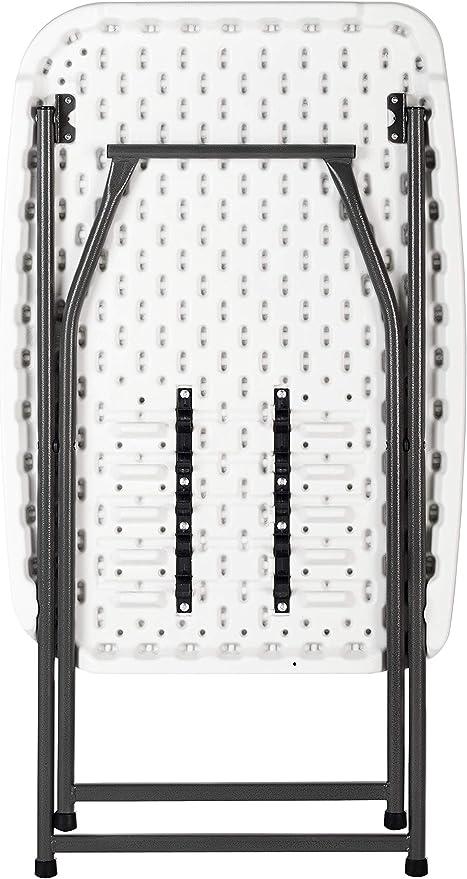 KG KITGARDEN - Mesa Auxiliar Plegable y Ajustable en Altura,75x50x56-73cm, Blanco, Folding