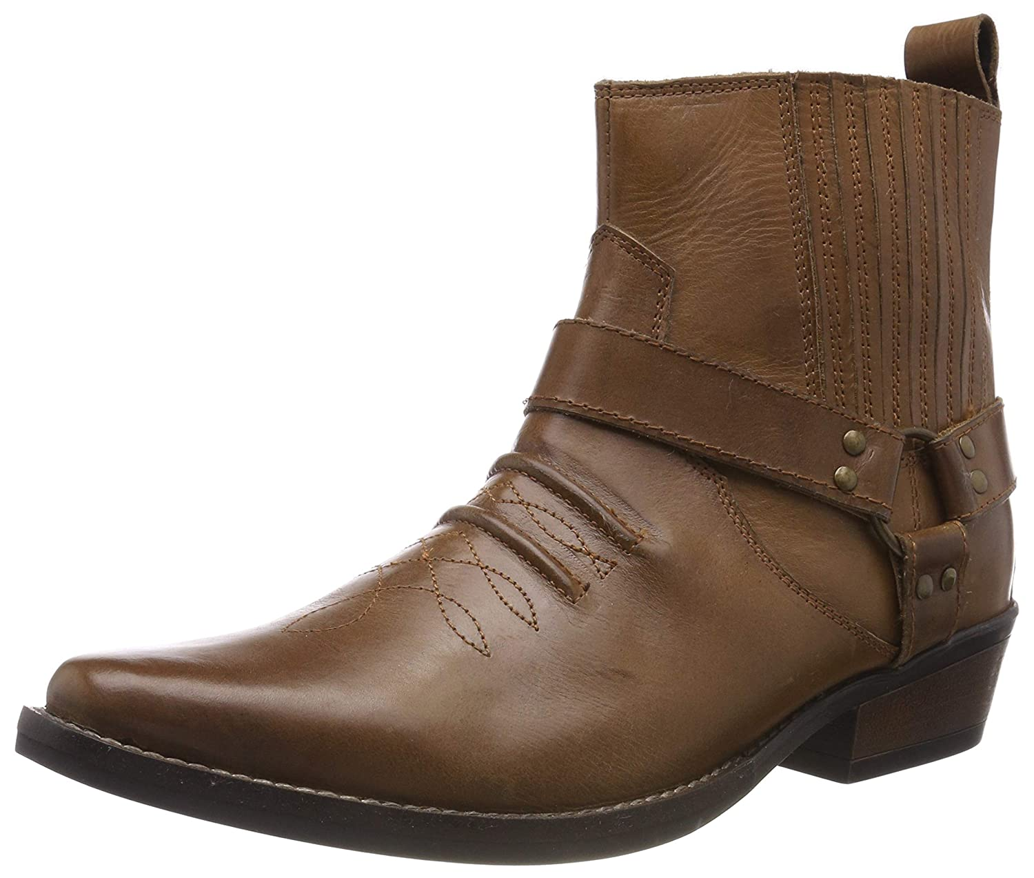 Mens Cowboy Leather Ankle Boots Biker Boots