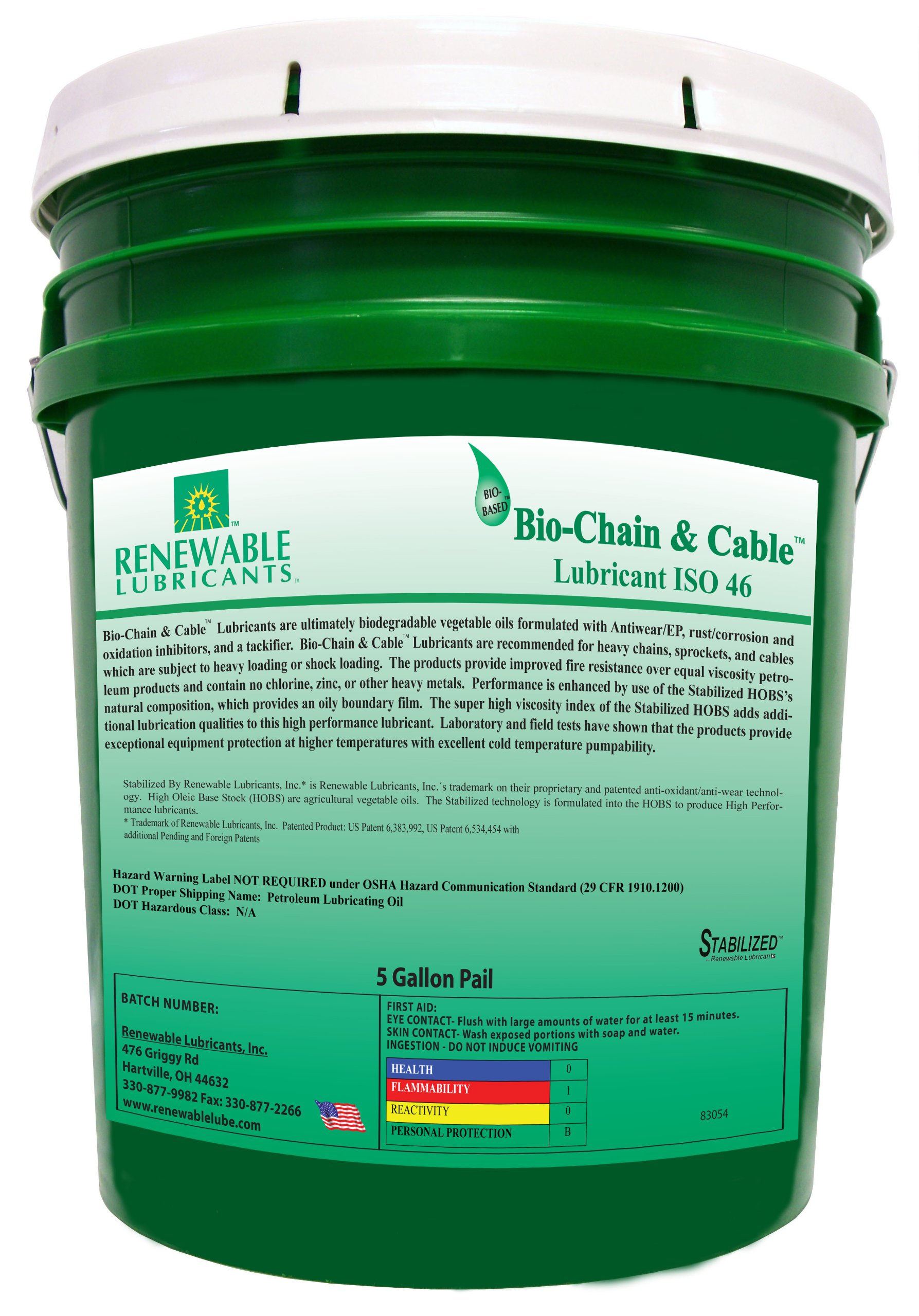 Renewable Lubricants Bio-Chain and Cable ISO 46 Lubricant Oil, 5 Gallon Pail