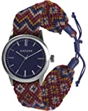 Kahuna Men's Quartz Watch with Brown Dial Analogue Display and Blue Fabric Strap KGF-0007G