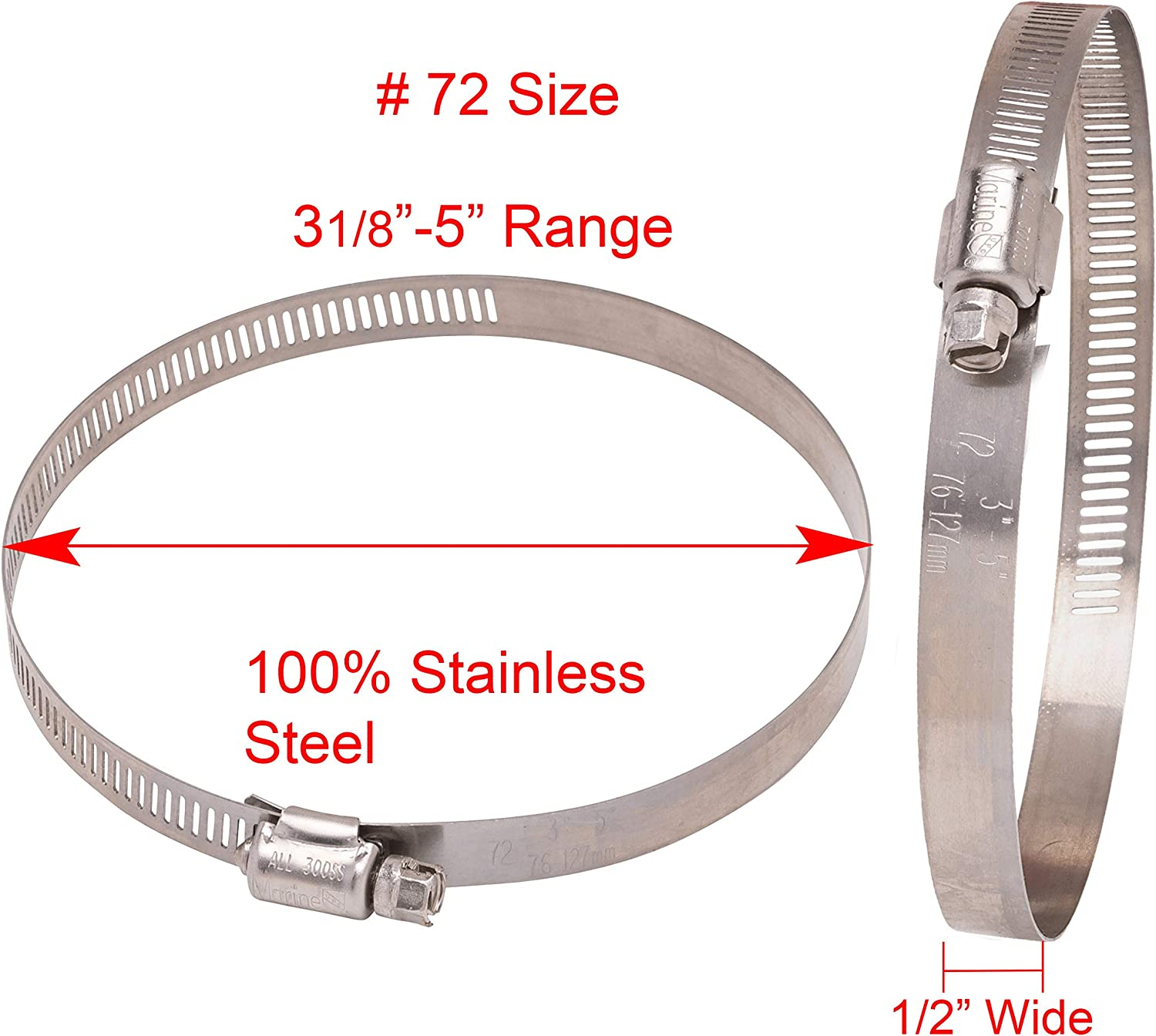 18-8 S//S 300 SS 10pc 9//16 Wide Band, 1-1//8 to 3 Diameter Stainless Hose Clamp #40