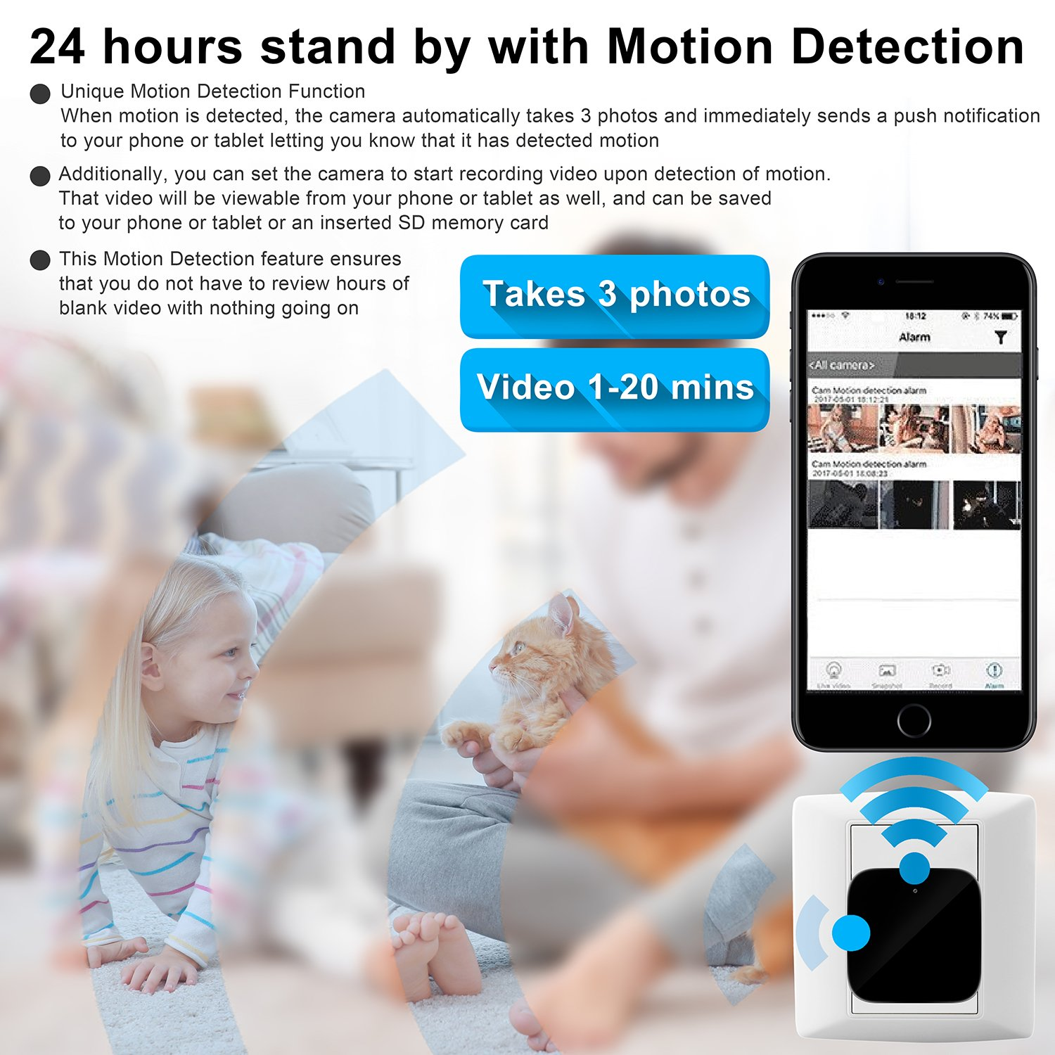 Hidden Camera in USB Power Adapter WiFi Hidden Cameras 1080P Video Recorder Wireless IP Camera for Indoor Home Security Monitoring Nanny Cam Motion Detection Support 128GB Micro SD Card Spy Camera