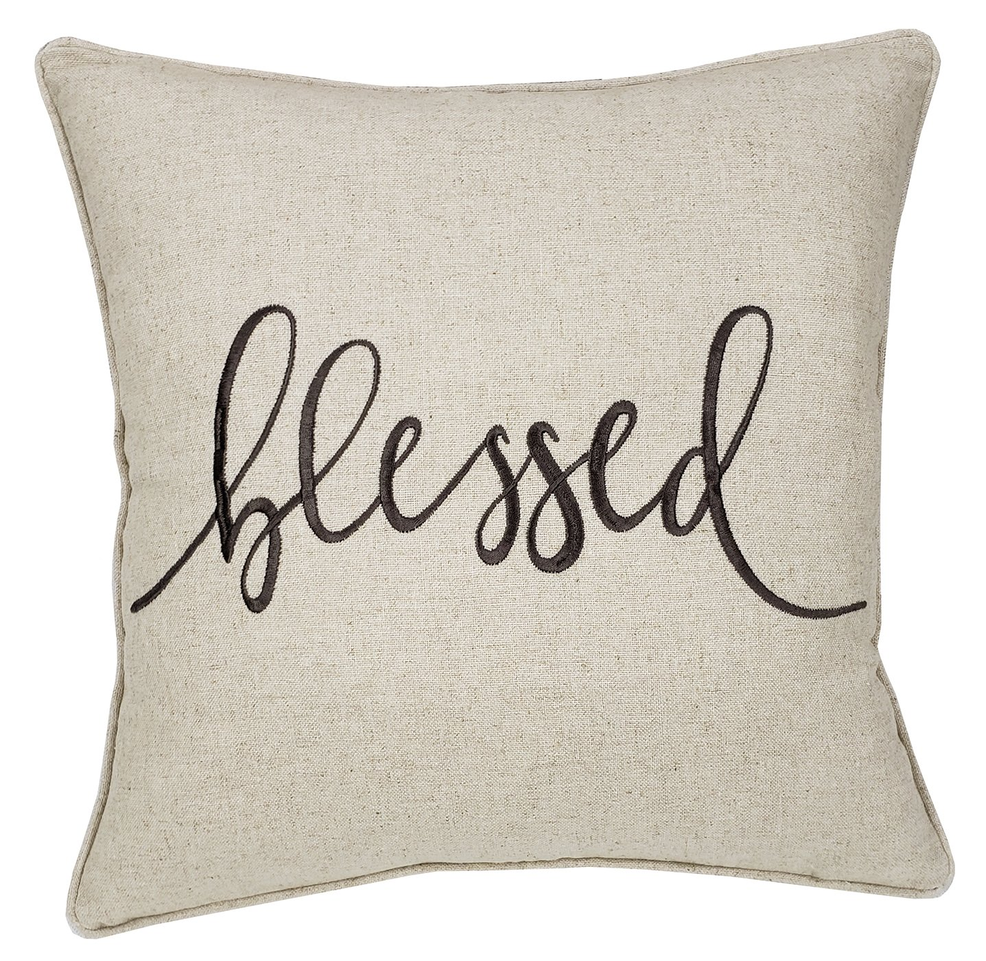 Trivenee Tex Pillowcase Embroidered Blessed Thankful Grateful Decorative Lumbar Throw Pillow Cover Gift for Christmas New Home Farmhouse Home Decor (Blessed(Natural), 18''X18'')
