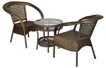 FurniFuture™ King Outdoor Patio Furniture Set 2+1 - (Golden)