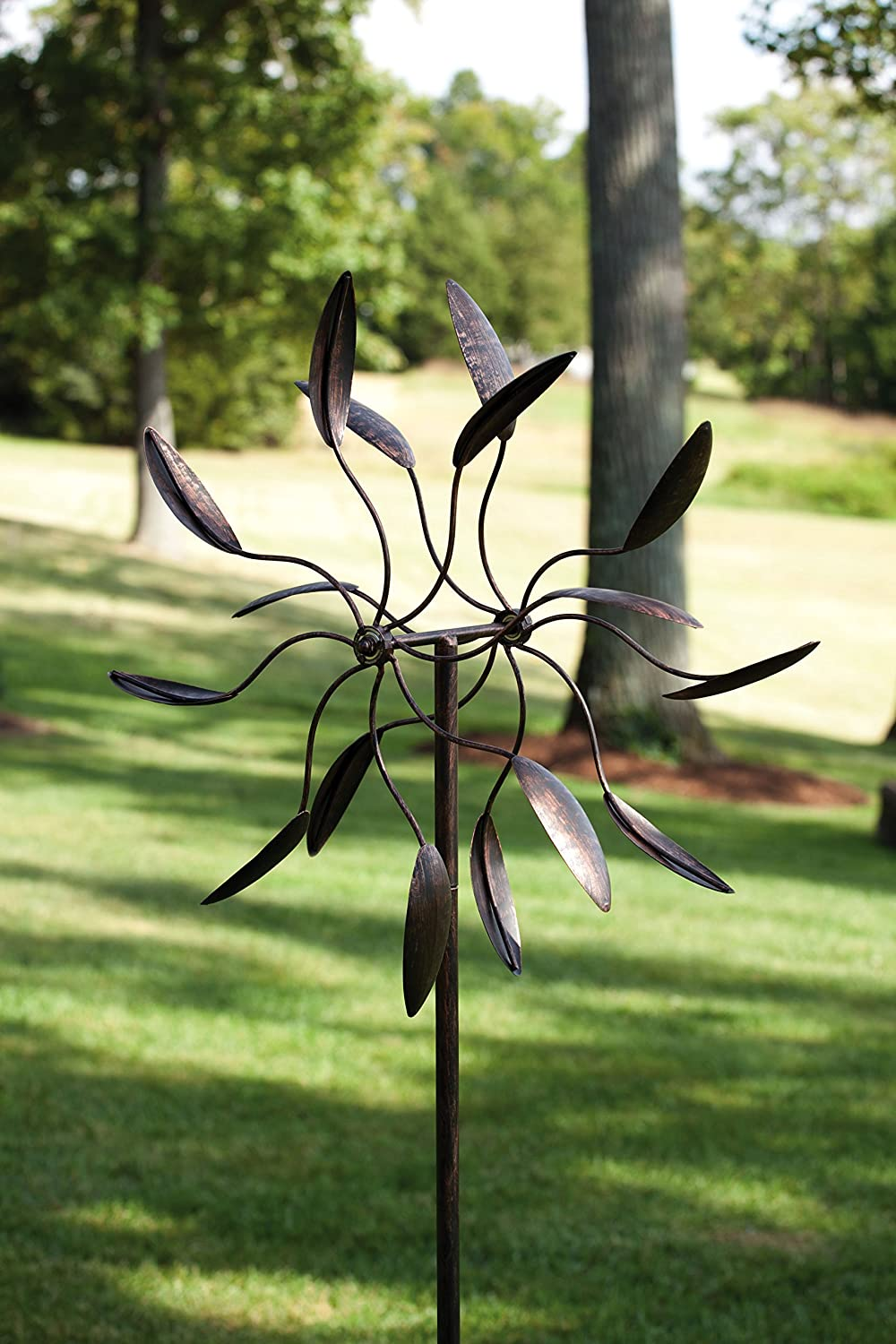 "Evergreen Garden Twirler Powder-Coated Metal Kinetic Wind Spinner - 24""W x 6""W x 82""H"