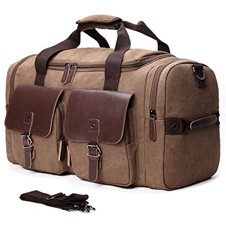 1f665063ff Amazon.com  Mactso Leather Overnight Duffle Bag Canvas Travel Tote Duffel  Weekend Bag Luggage (Coffee)  Sports   Outdoors