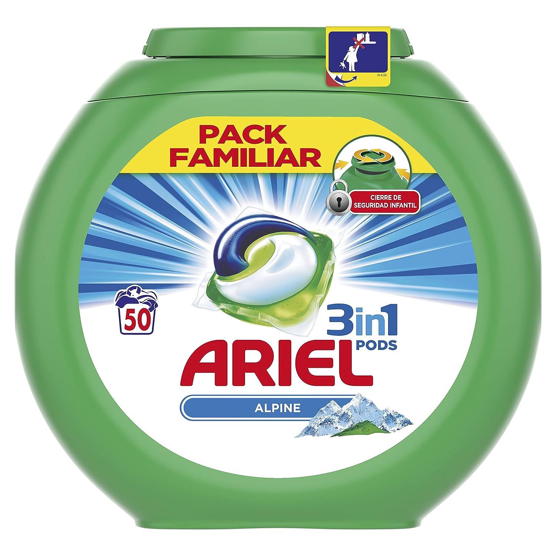 Ariel 3 en 1 Pods Cápsulas, Alpine - 50 Lavados