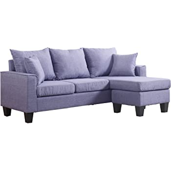 Ordinaire Divano Roma Furniture Modern Linen Fabric Small Space Sectional Sofa  Reversible Chaise (Light Grey)