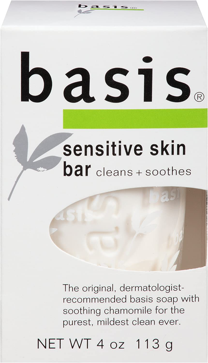 Basis Sensitive Skin Bar Soap – Body Wash Bar Cleans and Soothes with Chamomile and Aloe Vera – 4 oz. Bar Soap Pack of 6