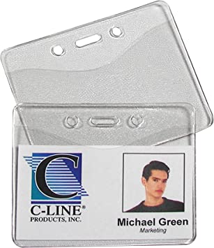Single Sided Rigid Id Card Clear Pass Badge Identity Protector Holder Guard New