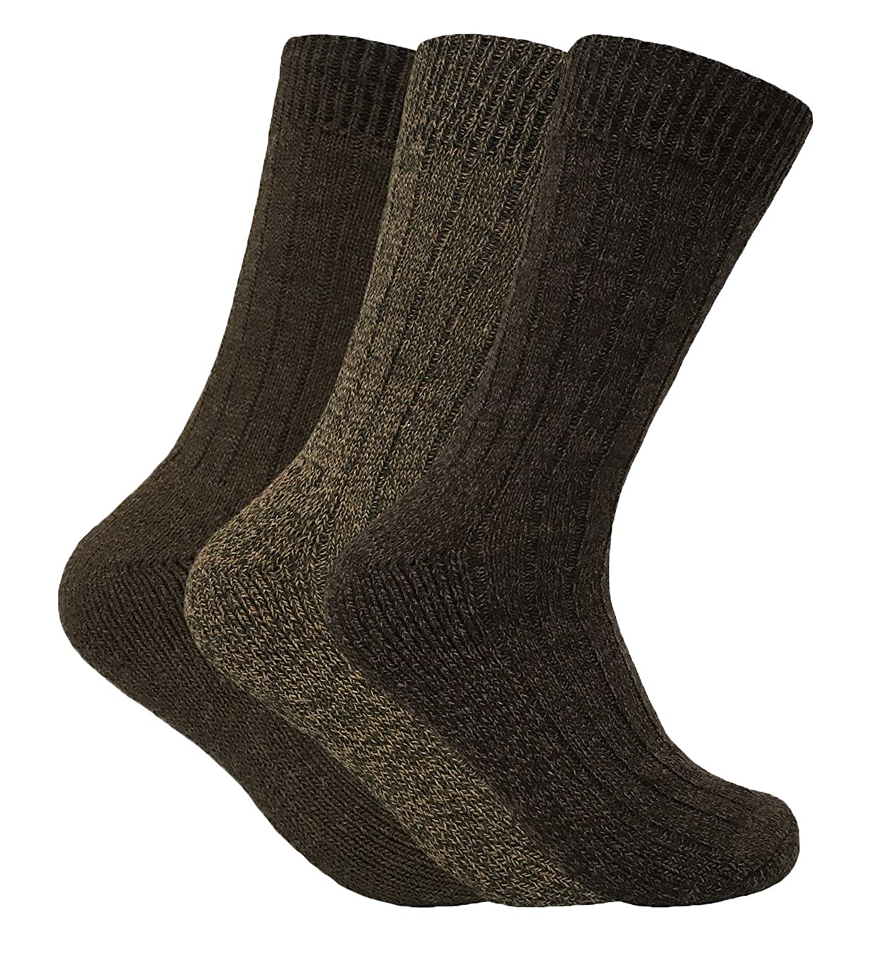 3 Pack Mens Wool Winter Warm Thick Breathable Cushioned Padded Hiking Socks WB Black) SKSNB