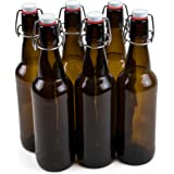 16 oz. Grolsch Glass Beer Bottles, Pint Size – Airtight Swing Top Seal Storage for Home Brewing of Alcohol, Kombucha Tea, Homemade Soda by Cocktailor (6-pack)