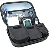 Diabetic Supplies Travel Case Organizer for Blood Glucose Monitoring Systems , Syringes , Pens , Insulin Vials & Lancets by USA Gear - ACCU-CHEK Nano , Bayer Contour , TRUEtest and More Kits