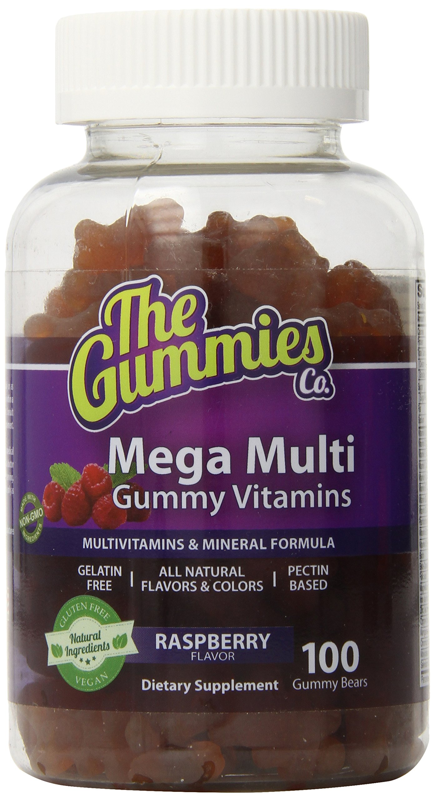 The Gummies Co Mega Multi Complete Gummy Vitamin and Mineral Formula, Raspberry, 100 Count