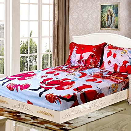 anself 4pcs christmas bedding sets bed sheet quilt cover pillow case twin - Christmas Bedding Sets