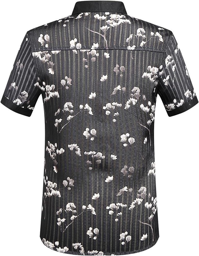 SSLR Camisa Manga Corta de Rayas con Estampado Floral de Verano para Hombre (Small, Negro): Amazon.es: Ropa y accesorios