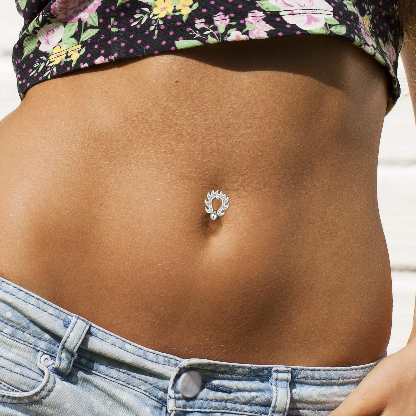 0.75ct Created Diamond Round Reverse Belly Botton Ring 14K Solid Gold Piersing