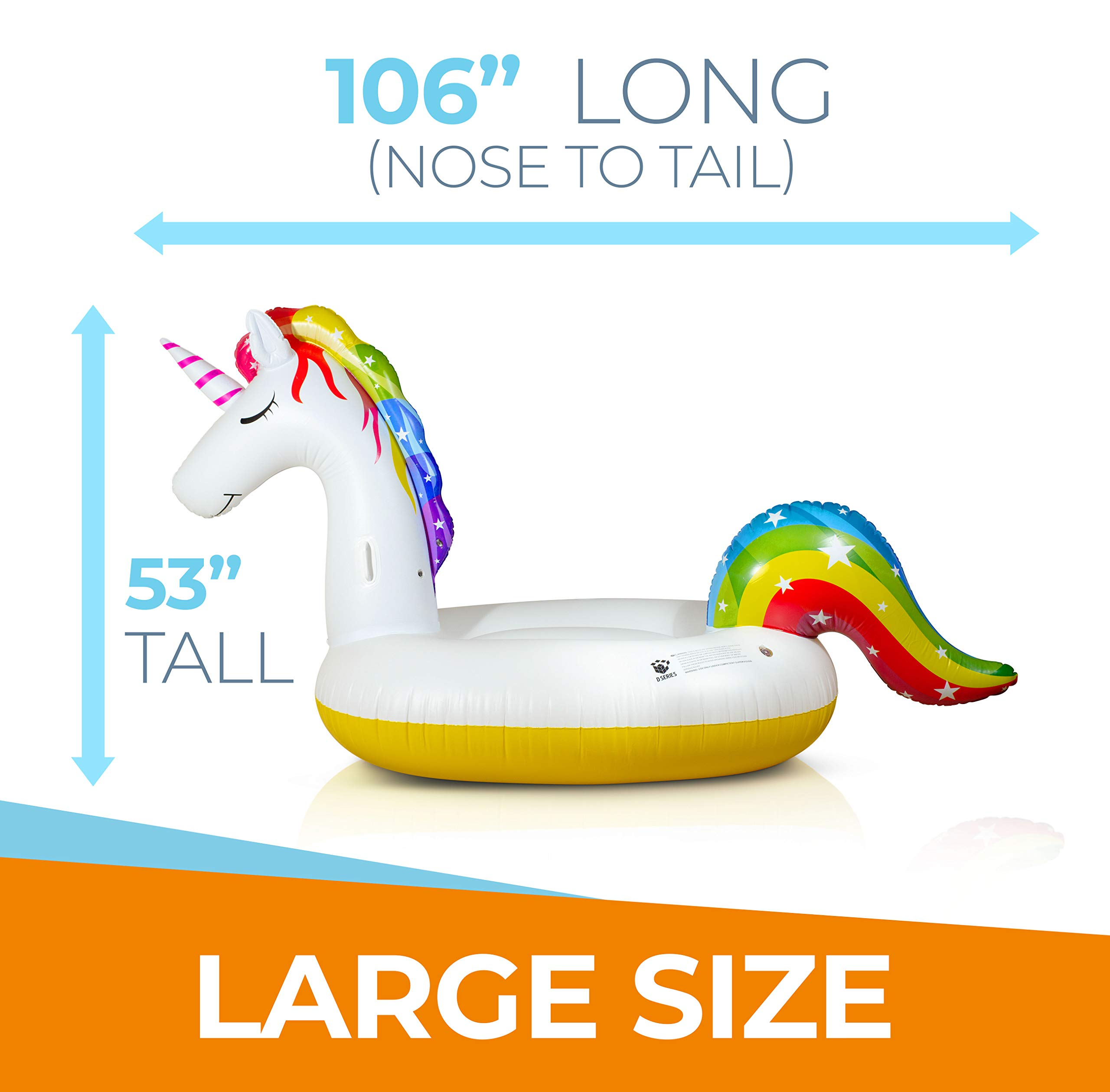 Giant Inflatable Unicorn Pool Float – Rapid Inflate and Deflate, Cup Holder, Safety Grab Handles, CE and SGS Certified… 9