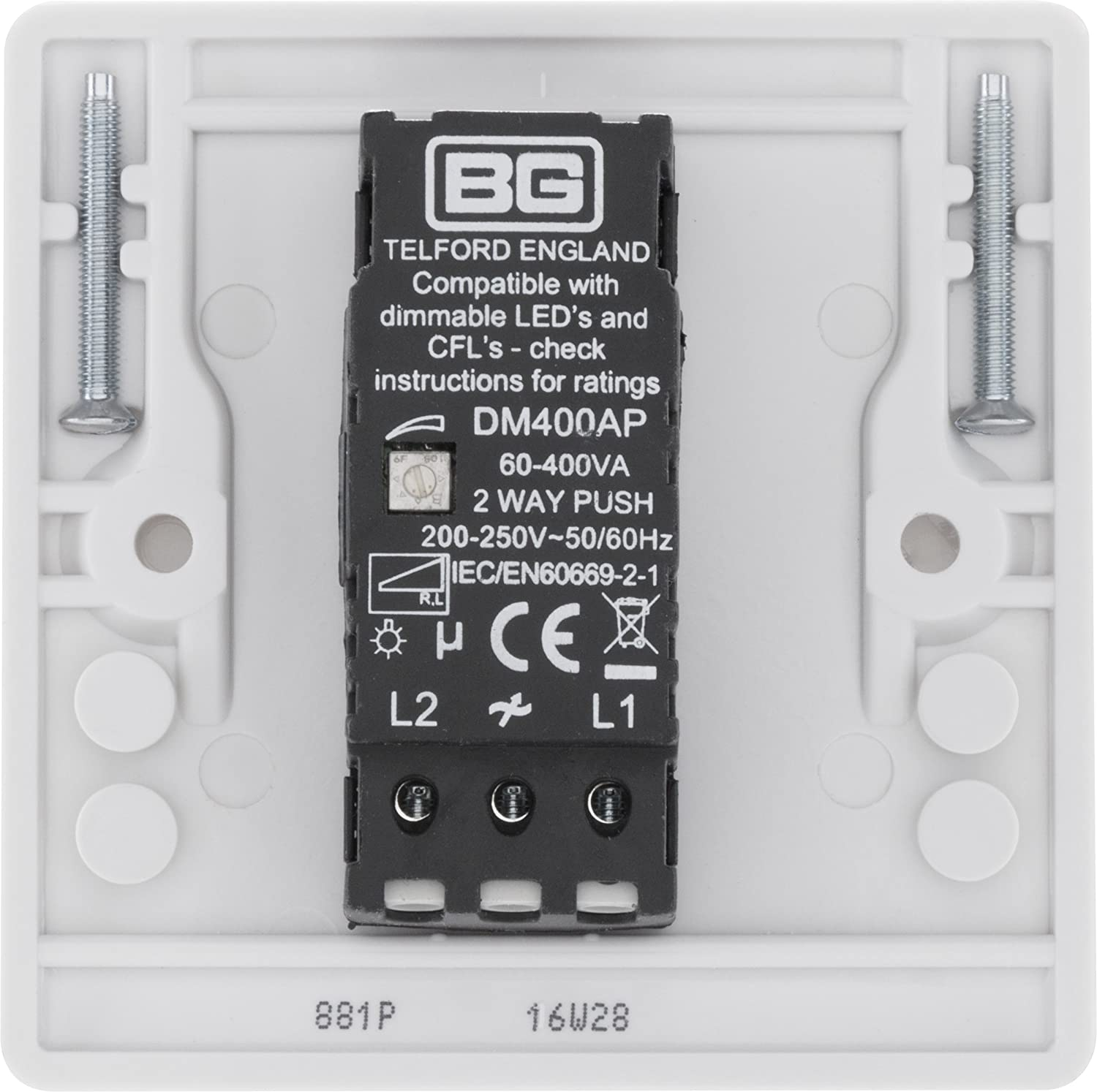 Bg Electrical 881p 400w Single 2 Way Push On Off Dimmer Switch Flickering White Diy Tools