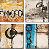 Yihui Arts 4 Pieces Yellow Blue Black Abstract Painting Canvas Wall Art Pictures for Kids Room