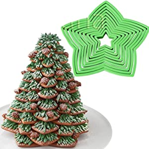 Anyana plastic 10 Pcs set 3D Gingerbread Star XMAS Decoration fondant donut Cookie nesting cutters kit Biscuit pastry mold for Christmas Tree gift cookie tower