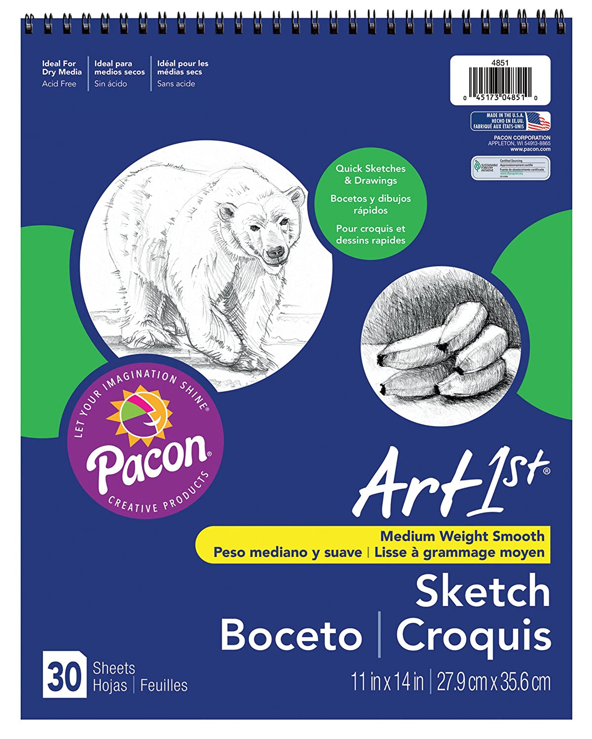 Pacon Art1st Medium Weight Sketch Book, White, 11 by 14, 30 Sheets (4851) 11 by 14 Pacon Corp.