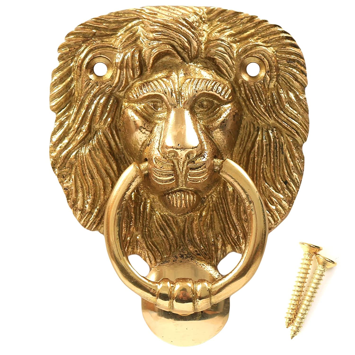 Polished Solid Brass Lion Head Door Knocker + Screws - Traditional Classic Victorian Style White Hinge