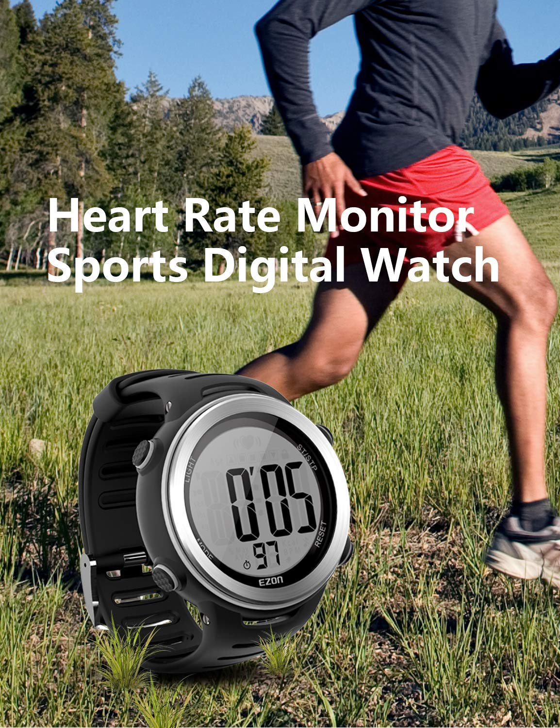 Heart Rate Monitor Sports Watch with HRM Chest Strap,Waterproof