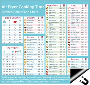 """Air Fryer Accessories Refrigerator Magnets Cooking Times Chart 11.8""""x11"""" Food Temperature Cheat Sheet Magnetic Recipe Cookbook Quick Reference Guide Kitchen Gift"""