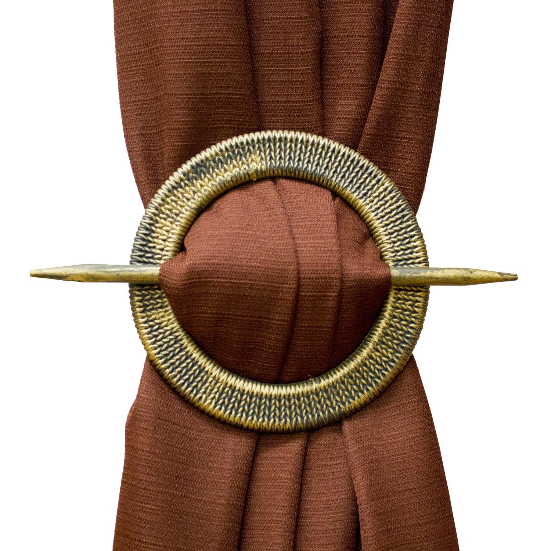 セットの2ラウンドBraid Decorative Curtian Holdbacks ゴールド HB044715 B01M20ZDBR ゴールド