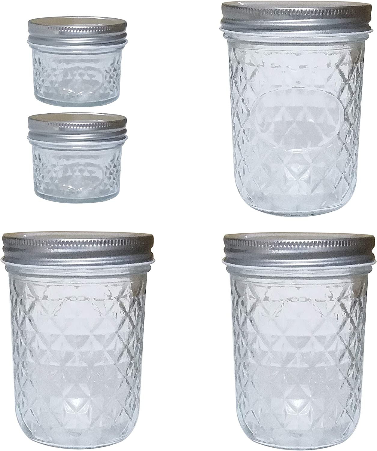 Glass Wide Mouth Mason Jars 16oz Quilted Crystal Style With Metal Airtight Lid,Set of 3,Ideal for Jam,Honey,Wedding Favors,Canning Jars,Baby Foods,Decorating Jar.