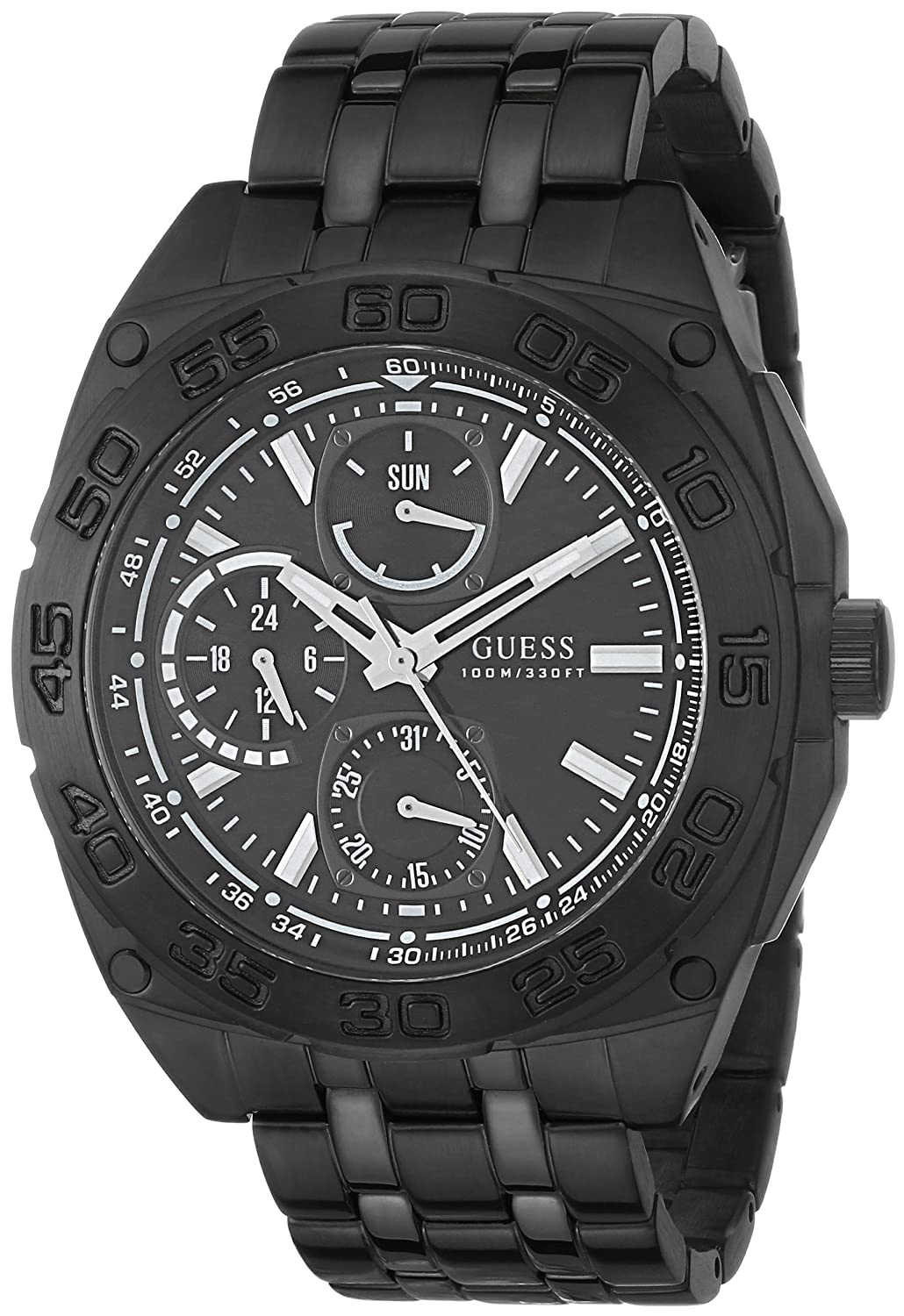 Amazon.com: GUESS Mens U0487G2 Black Ionic Plated Multi-Function Watch: Guess: Watches
