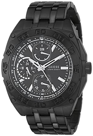 GUESS Mens U0487G2 Black Ionic Plated Multi-Function Watch
