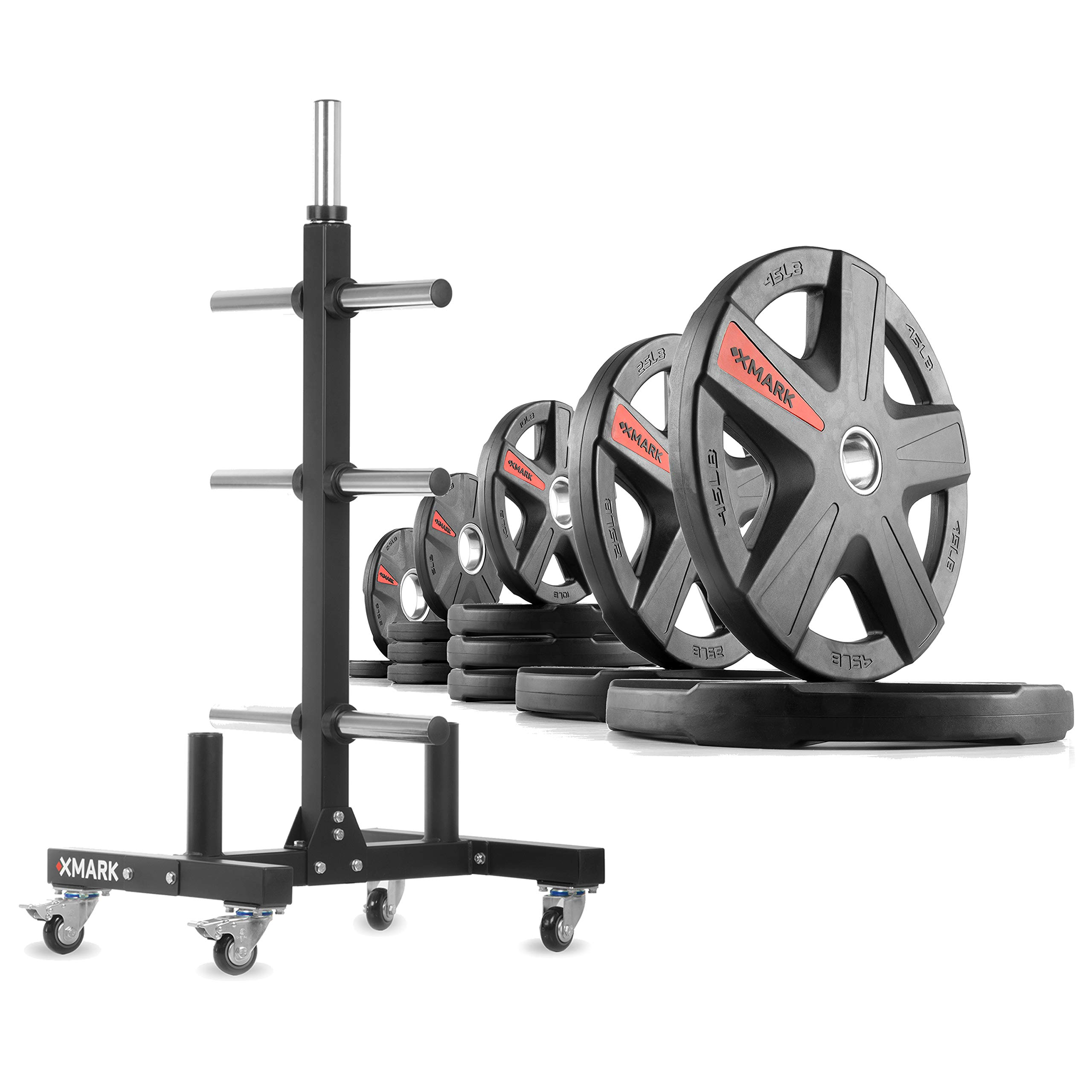 XMark XM-9055 Commerical Olympic Weight Tree Plus a 205 lb Set of Texas Star Olympic Plates by XMark