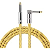 Guitar Cable Right Angle 1/4 Inch Premium Instrument Bass Cable AMP Cord to Straight for Electric Guitar Bass Keyboard to Guitar Amps (15 Ft, Yellow)