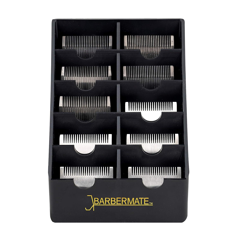 BarberMate Blade Rack Storage Tray - Holds 10 Clipper Blades (Black)