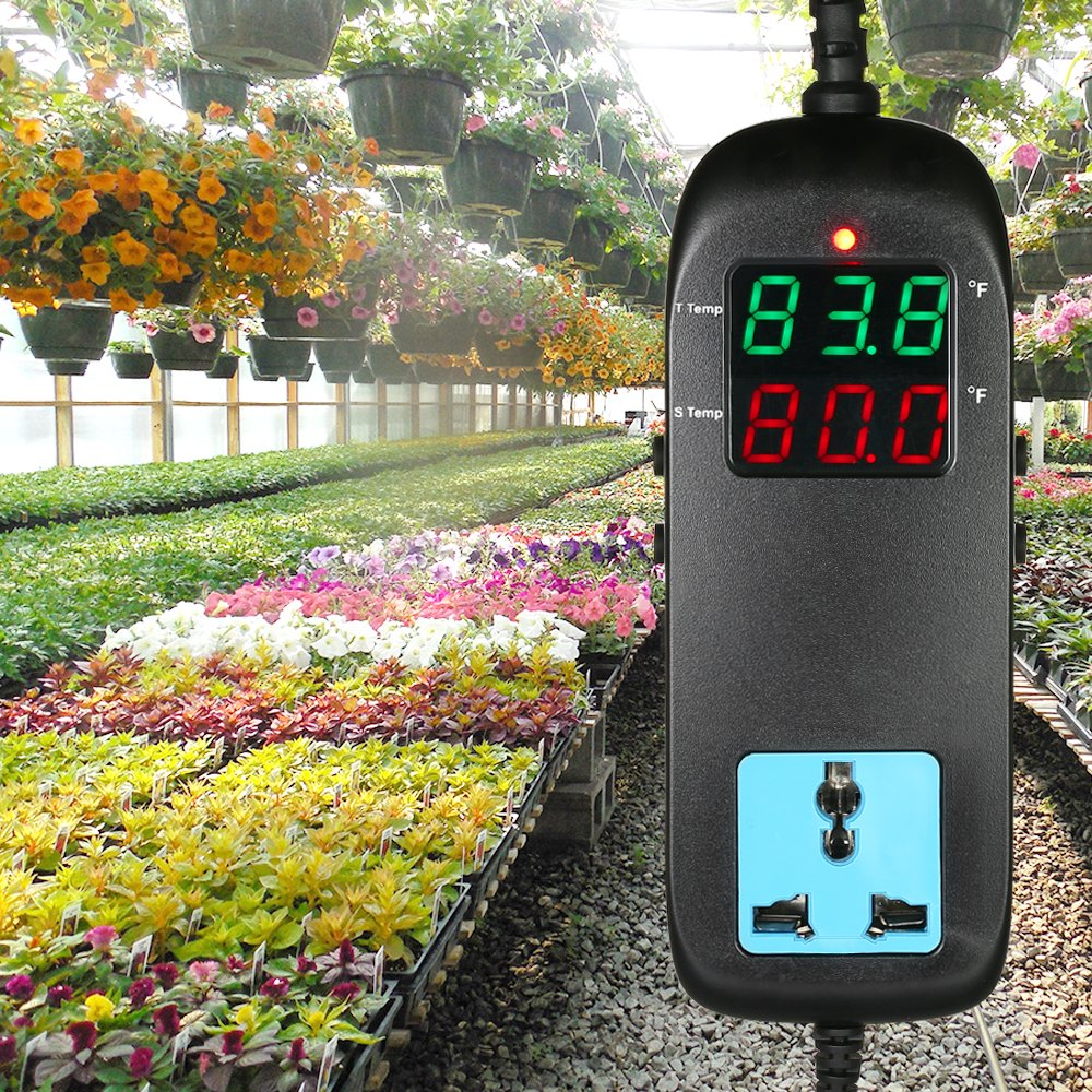 Festnight LED Digital Display Temperature Controller Thermostat with Temperature Sensor for Automatic Heating Cooling Control AC90V~250V