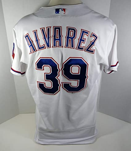 9a1ba65c3e2 Image Unavailable. Image not available for. Color  2017 Texas Rangers Dario  Alvarez  39 Game Issued White Jersey - Game Used ...