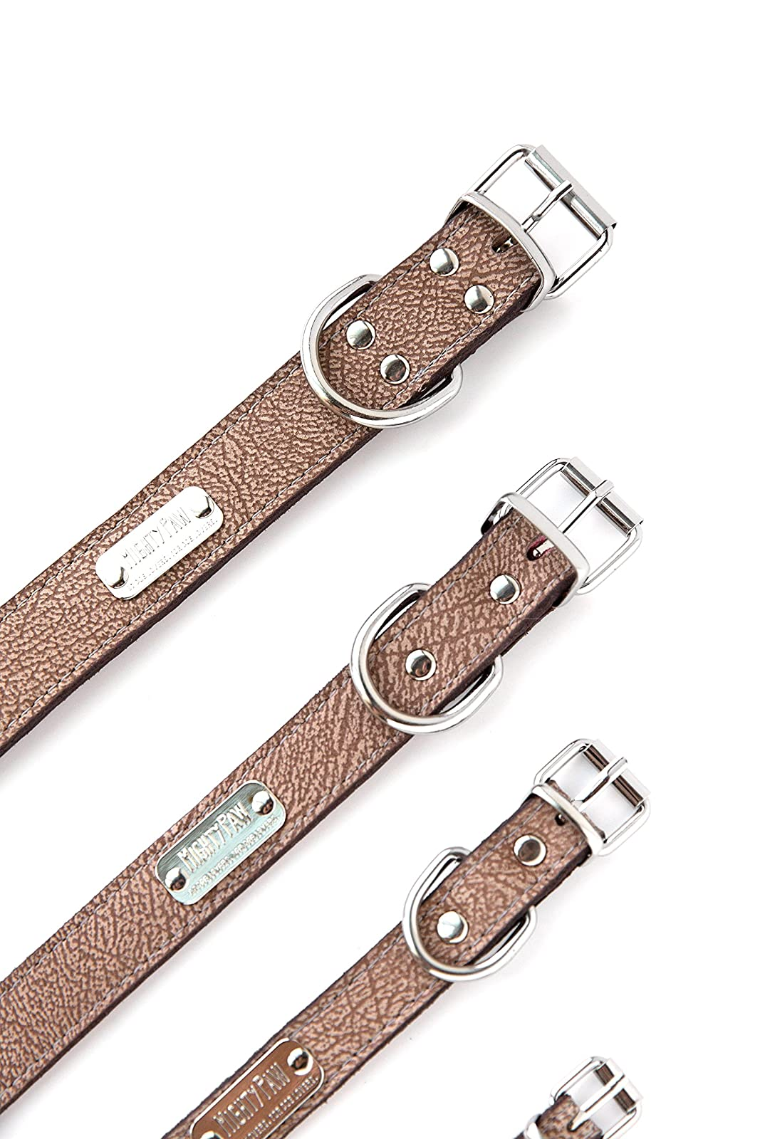 Mighty Paw Leather Dog Collar Super Soft Light Brown - 8