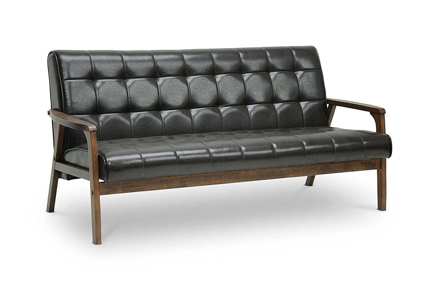 Amazon.com: Baxton Studio Mid-Century Masterpieces Sofa, Brown ...